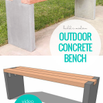 How To Build A Modern Outdoor DIY Concrete Bench With Redwood Bench Seat, Video Tutorial And Plans Remodelaholic