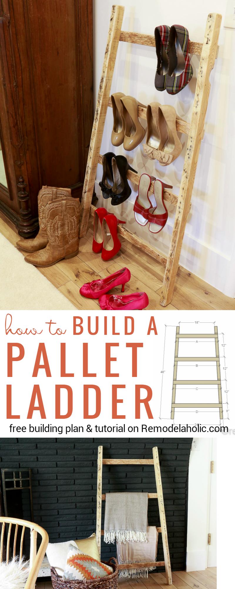 Remodelaholic Pallet Blanket Ladder Tutorial For Quilts Or Shoe Storage