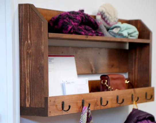 Pallet Inspired Coat rack with storage From Ana White Featured On Remodelaholic,