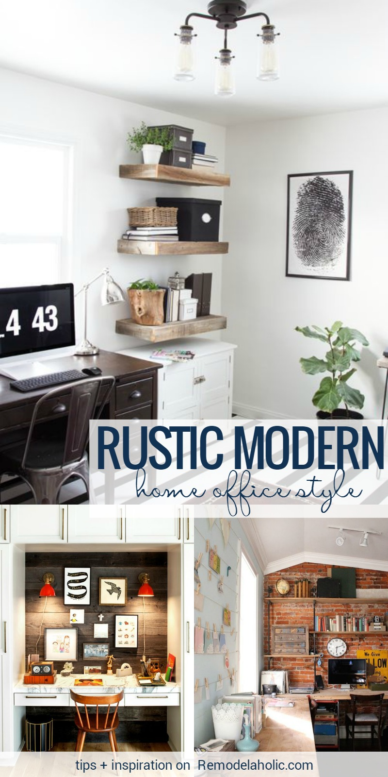 Remodelaholic | Rustic Modern Home Office Design Inspiration & Tips