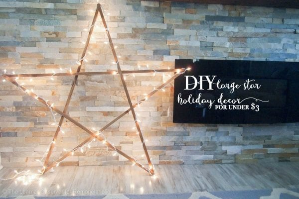 Make this easy DIY extra large wood star for just $3 -- and adding lights, it's still budget-friendly large Christmas decor at under $10! Perfect for the front porch or by the fireplace. Tutorial from The Learner Observer on Remodelaholic.com