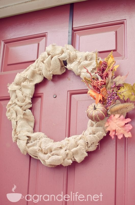 DIY Burlap wreath with fall accents by A Grand Life on Remodelaholic
