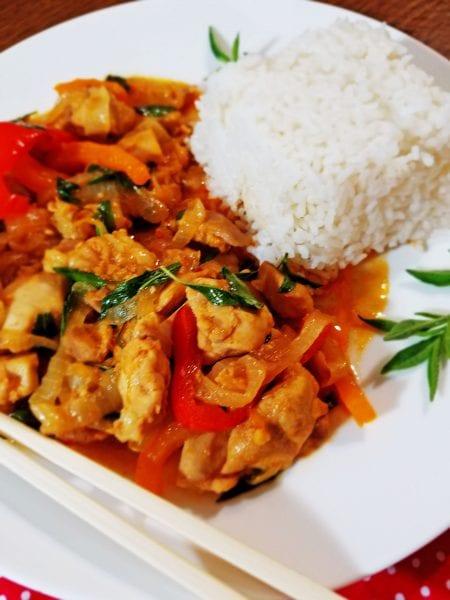 A quick and easy dinner recipe that is delicious! One Pot Thai Basil Chicken recipe at Remodelaholic.com