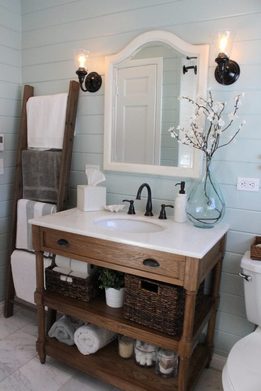 How to Decorate With a Ladder - Bathroom Ladder Decor Idea, Towel Ladder
