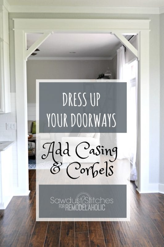 Adding Casings And Corbels To A Doorframe   Upgrade from builder basic by installing a DIY craftsman door casing with easy DIY corbels.