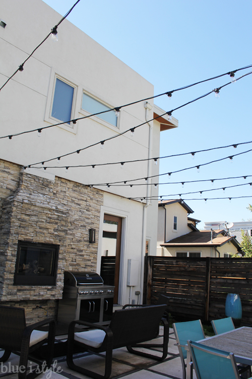Blue I Style String Lights Outdoor Fireplace