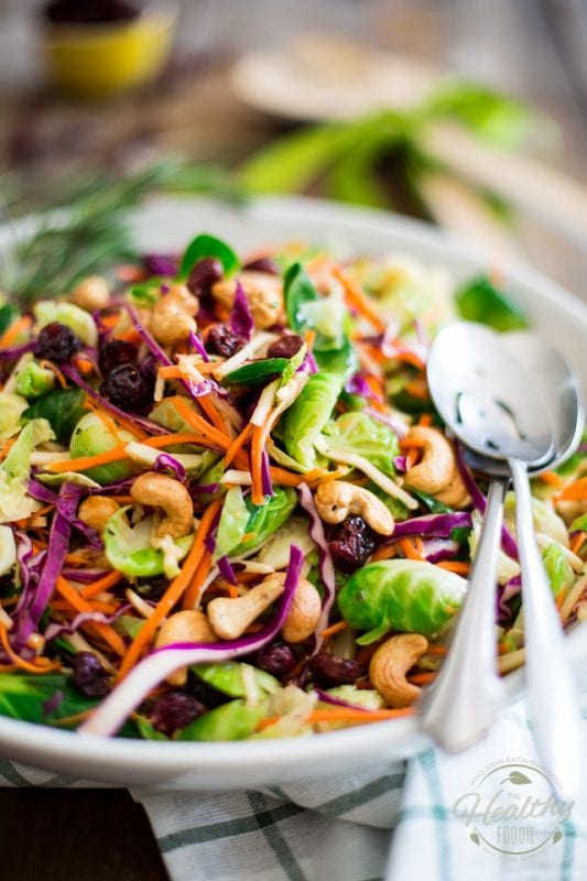 colorful brussels sprouts salad