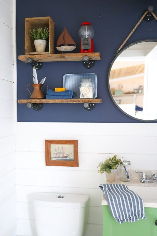 Luxury diy industrial reclaimed wood and pipe shelves
