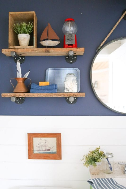 Remodelaholic | Colorful Bathroom with DIY Reclaimed Wood and Pipe ...