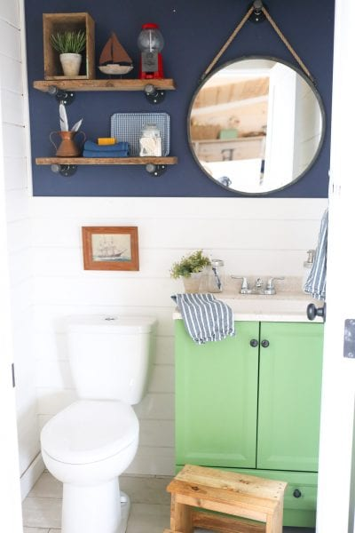 Remodelaholic Colorful Bathroom With Diy Reclaimed Wood
