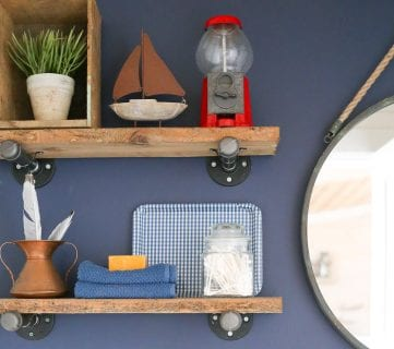 Colorful Bathroom with DIY Reclaimed Wood and Pipe Shelves