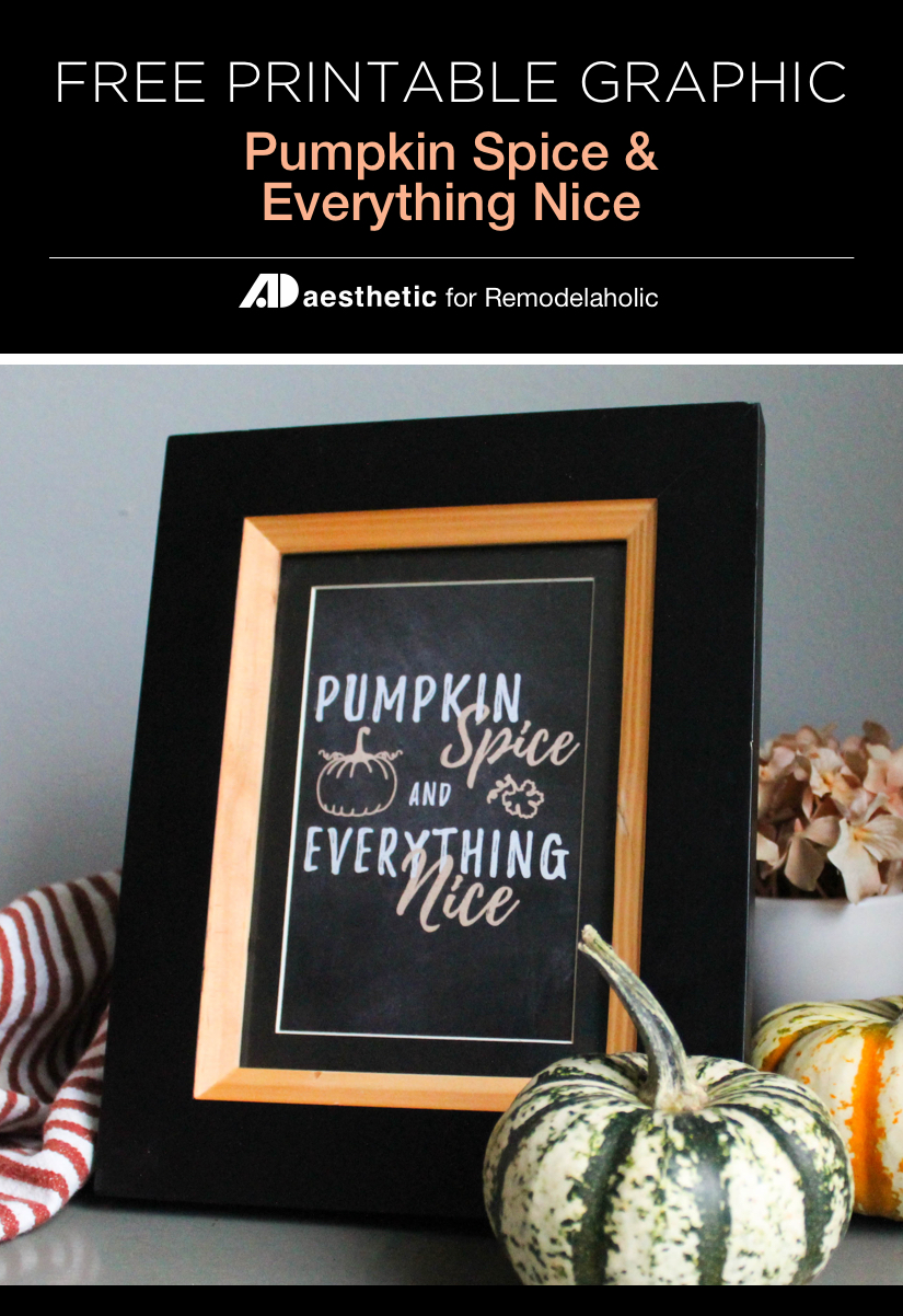 """Add some easy fall decor with this free chalkboard style printable """"Pumpkin Spice and Everything Nice"""" available in three standard frame sizes • AD Aesthetic For Remodelaholic.com"""