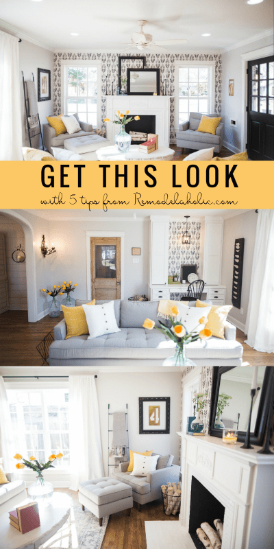 """Create this contemporary farmhouse living room style (from Fixer Upper's """"Chicken House"""" episode) with these 5 easy tips and essential elements of a comfy farmhouse living room. Learn more at Remodelaholic.com"""