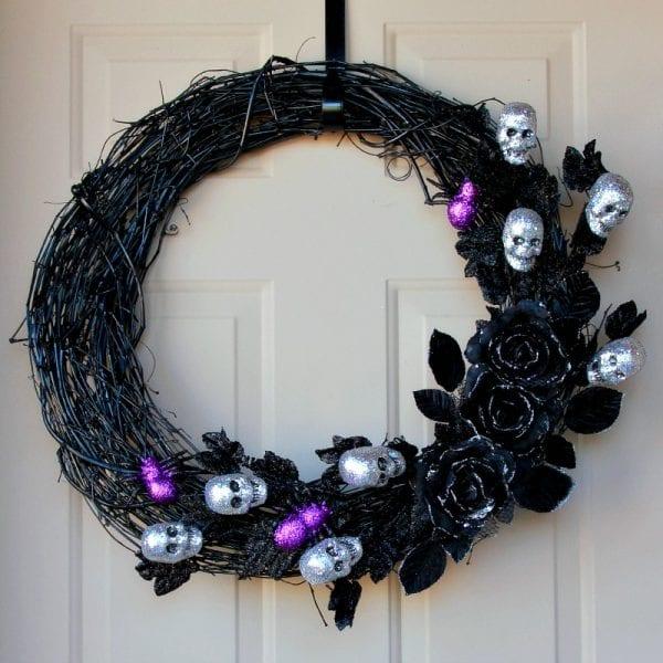 Glitter skull halloween wreath