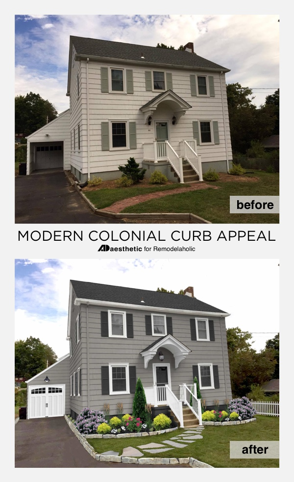 A modern colonial curb appeal update can be as simple as just a few small changes to exterior home colors and a bit of landscaping! Get these tips for a modern colonial home exterior makeover from ADAesthetic on Remodelaholic.com