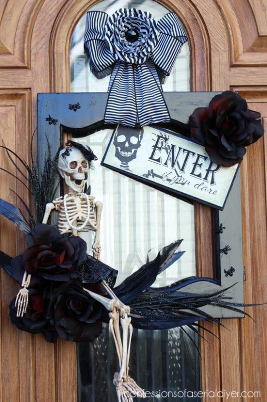 skeleton wreath for Halloween