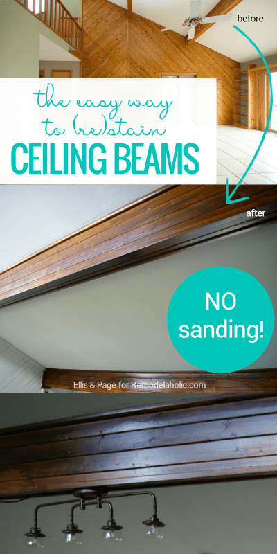 Easy Way To Stain Wood Ceiling Beams @Remodelaholic