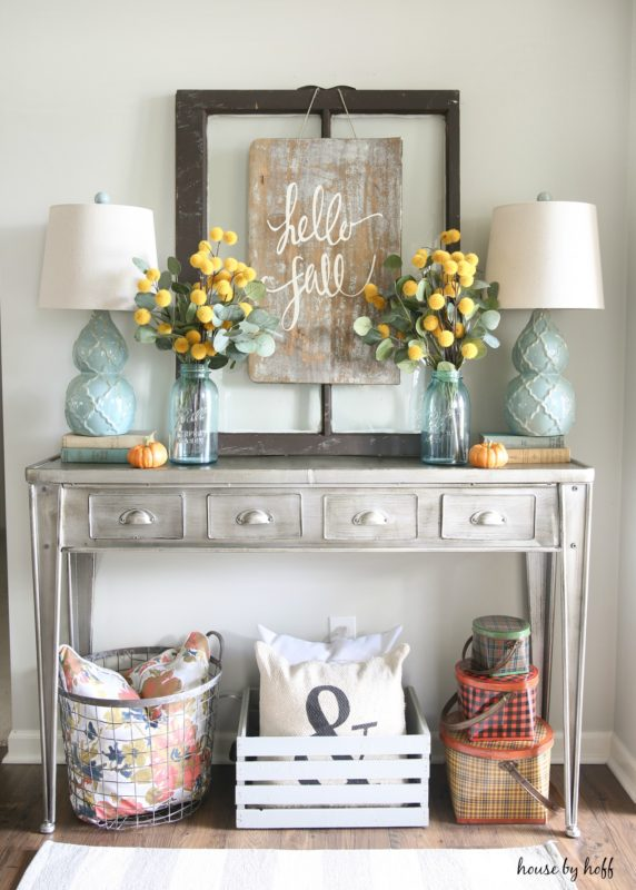 Favorite fall-ish decor: This beautiful setup by House By Hoff just makes me happy. So many great elements!