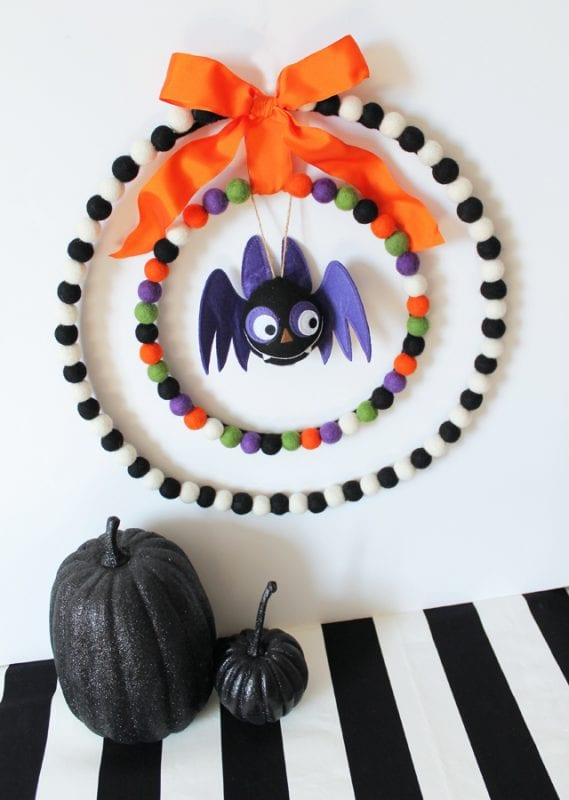 felted ball Halloween wreath