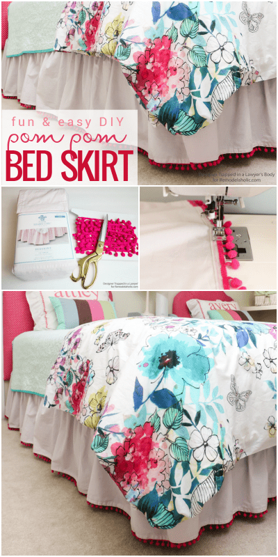 "This pom pom bed skirt is so easy and has just the right ""kid"" vibe for growing girls and tweens! Get the full how-to from Designer Trapped in a Lawyer's Body on Remodelaholic.com"