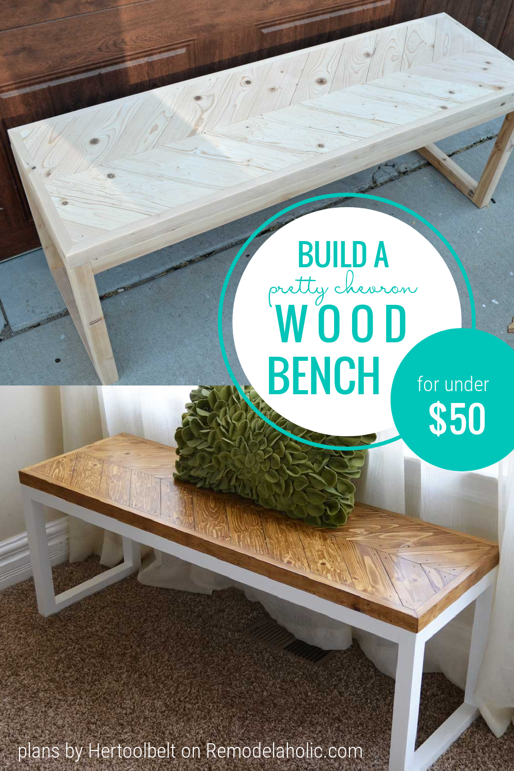 How To Build A Wood Chevron DIY Bench For Under $50 Remodelaholic