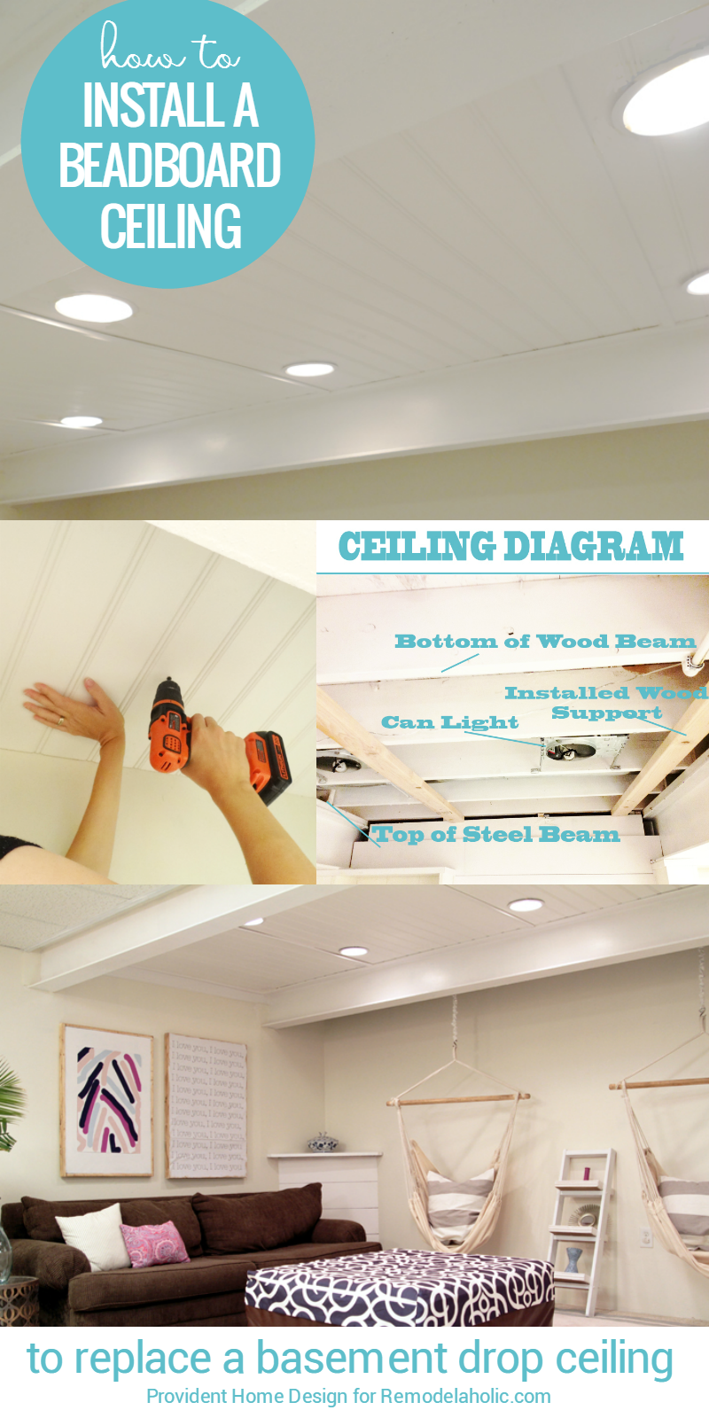 Remodelaholic diy beadboard ceiling to replace a basement drop how to install a basement beadboard ceiling to replace a drop ceiling tutorial from provident dailygadgetfo Image collections