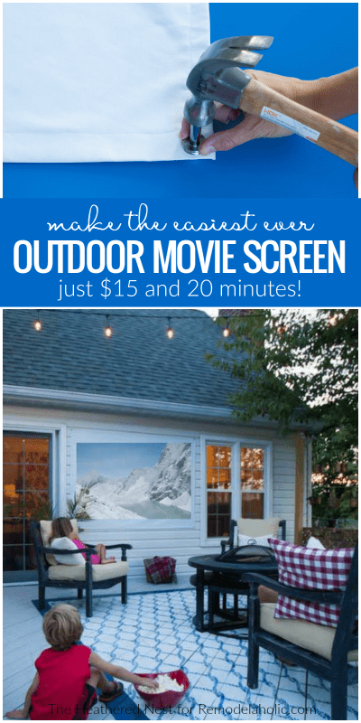 You can create this super simple DIY outdoor movie screen in under half an hour, and it only costs about $15! Perfect for outdoor movie nights with the family. Get the tutorial from The Heathered Nest on Remodelaholic.com