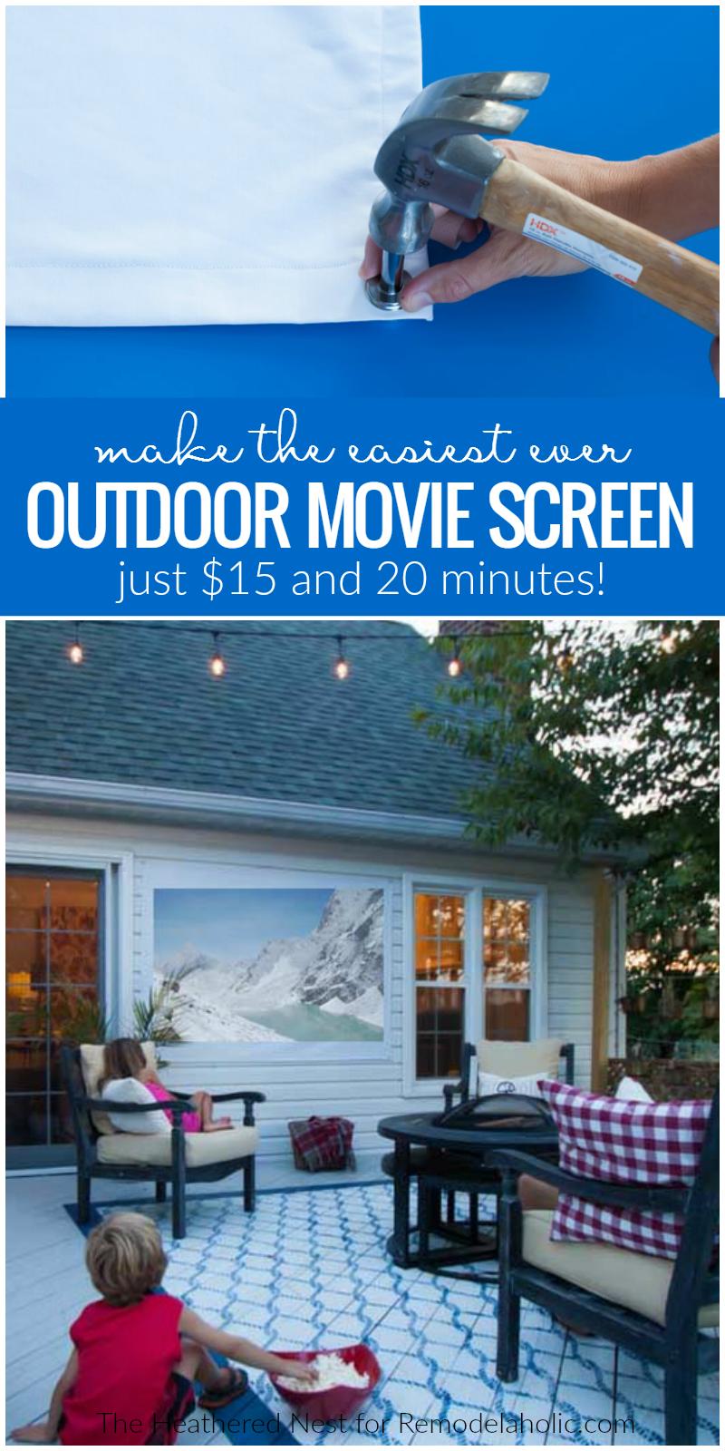 remodelaholic easy diy outdoor movie screen. Black Bedroom Furniture Sets. Home Design Ideas