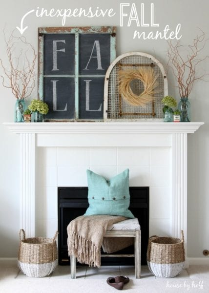 Inexpensive Fall Mantel