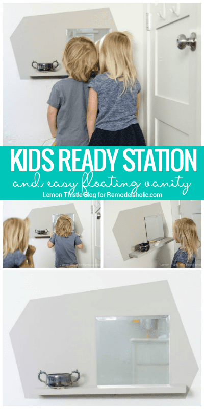 Create a Kids Floating Vanity and Wall-Mount Ready Station To Help Children Learn Independence And Self Care | Tutorial from Lemon Thistle Blog on Remodelaholic.com