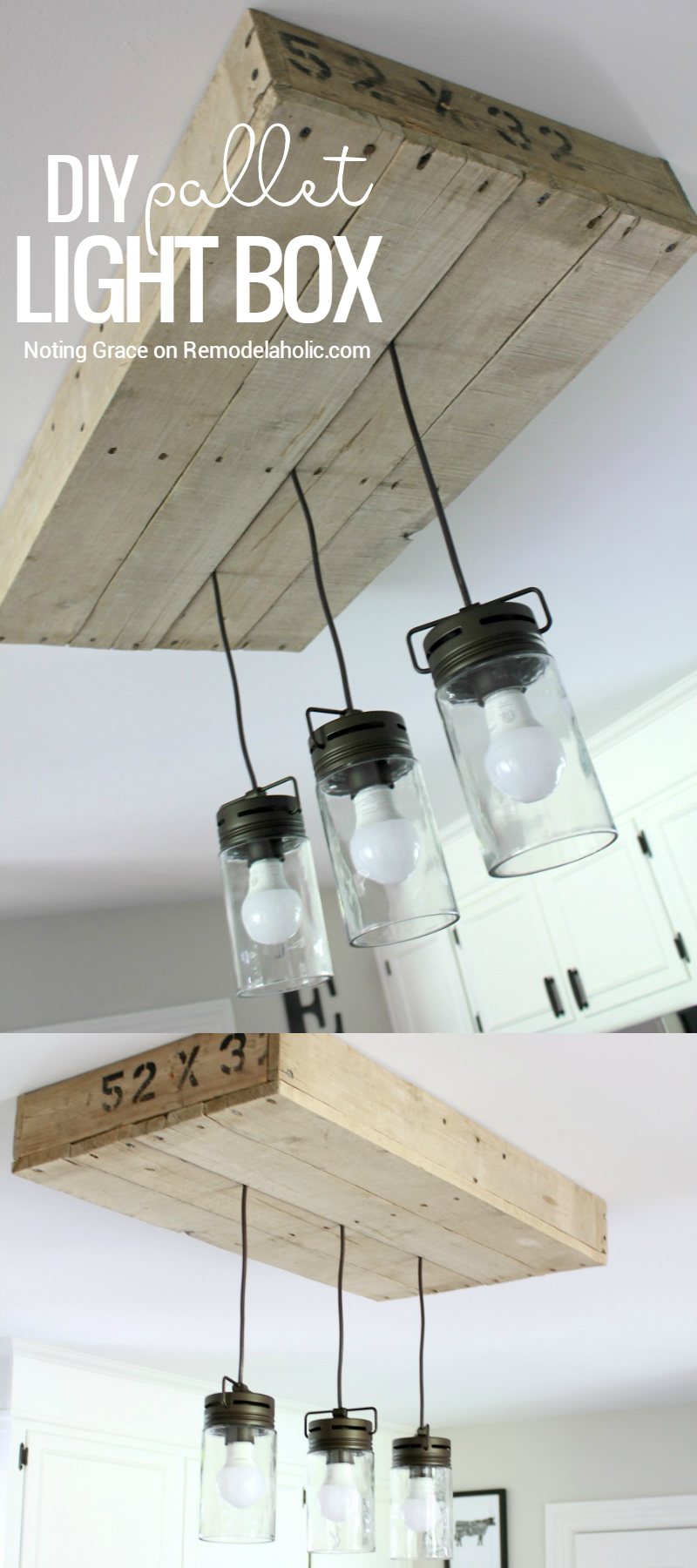 Remodelaholic how to make a pallet wood light box for Diy kitchen light fixtures