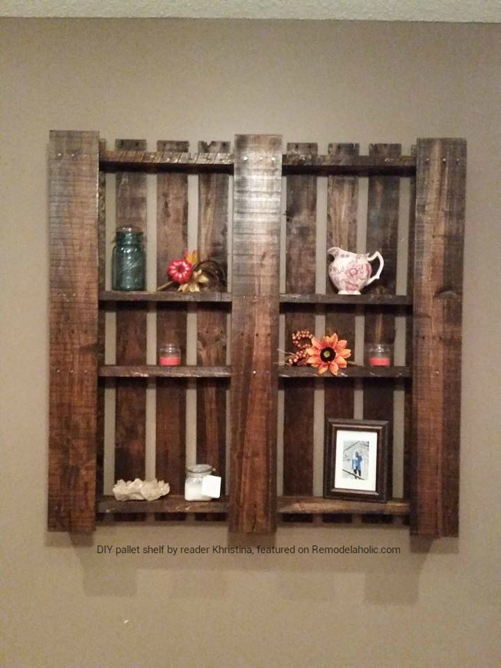 Remodelaholic 85 creative diy pallet projects for Pallet wall shelf