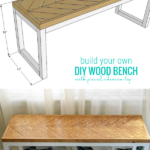 Printable DIY Plans To Build An Easy Wood Bench Base With Pieced Chevron Wood Top, Remodelaholic