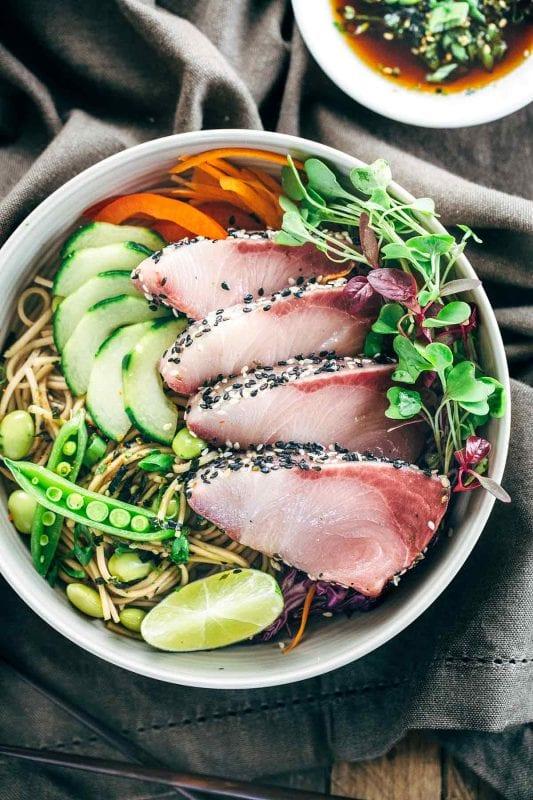 Sesame Crusted Hamachi with Edamame Soba Noodle Salad
