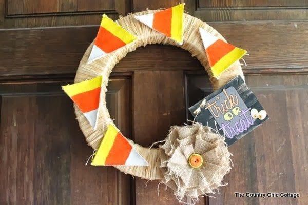 trick or treat candy corn Halloween wreath