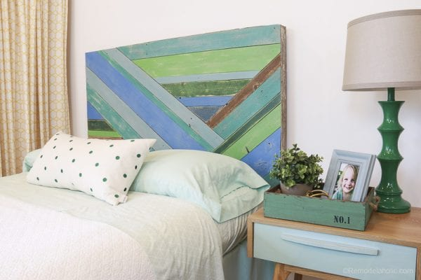 Wood Pieced Headboard Painted With Annie Sloan Chalk Paint @remodelaholic 9820