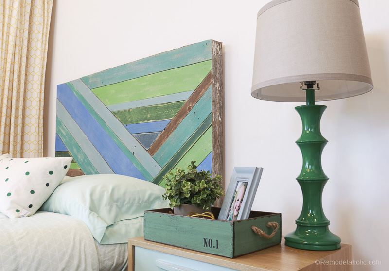 Wood Pieced Headboard Painted With Annie Sloan Chalk Paint @remodelaholic 9861