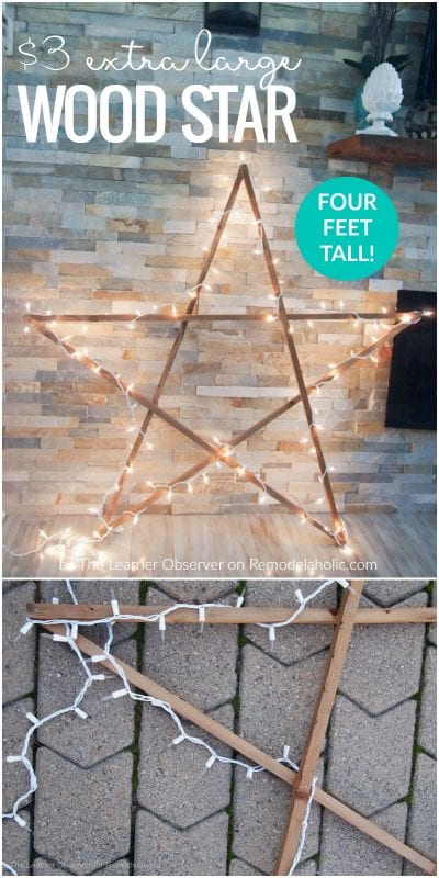 Make this easy DIY extra large rustic wood star for just $3 -- and adding lights, it's still budget-friendly large Christmas decor at under $10! Perfect for the front porch or by the fireplace. Tutorial from The Learner Observer on Remodelaholic.com
