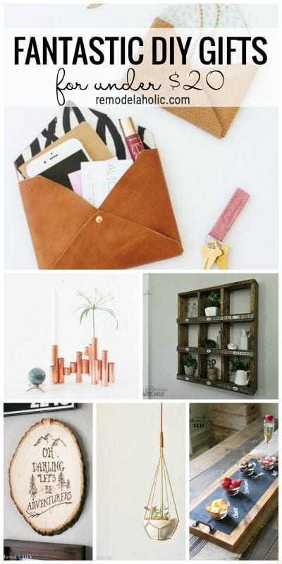 Looking to make something special for gift giving this holiday season? Try one of these 20 Fantastic DIY Gifts for under $20 featured on Remodelaholic.com