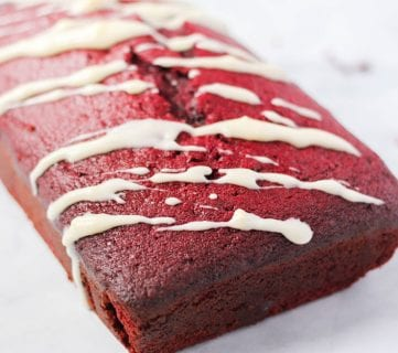 Red Velvet Holiday Loaf with Cream Cheese Drizzle
