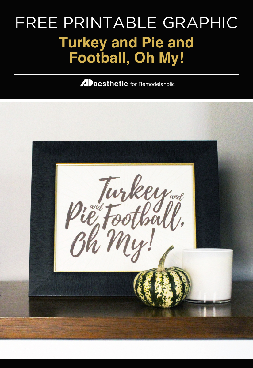 Free Printable: Turkey and Pie and Football, Oh My!
