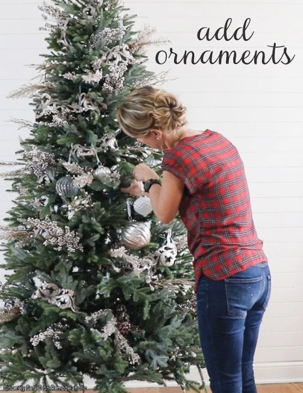 How To Decorate A Christmas Tree, Step 4 Add Ornaments By Sincerely Sarah D On Remodelaholic