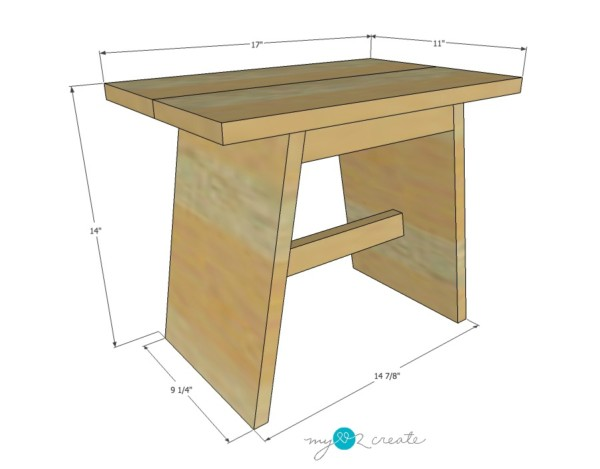 DIY Reclaimed Wood Stool Overall Dimensions , MyLove2Create