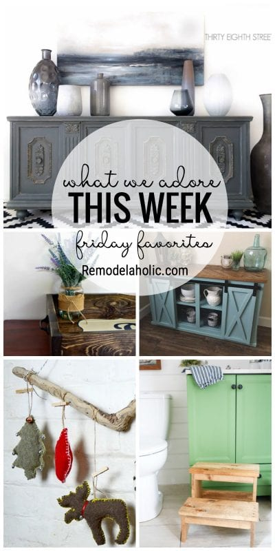 What We Adore This Week For Friday Favorites Featuring Rustic Stools And Organized Open Shelves Featured On Remodelaholic Com
