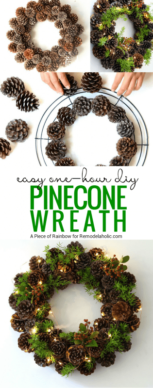 Diy Pinecone Wreath Remodelaholic
