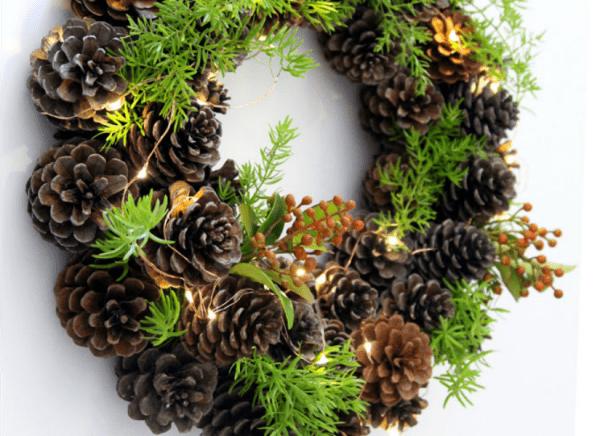 Diy Pinecone Wreath Remodelaholic Feat