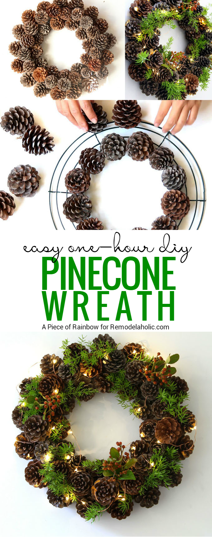 Remodelaholic How To Make A Pinecone Wreath