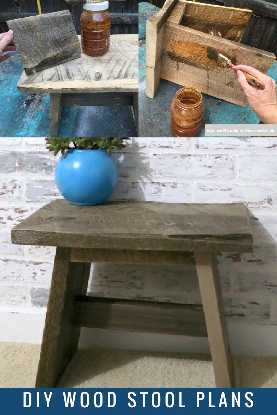 DIY Reclaimed Wood Stool Plans, Remodelaholic