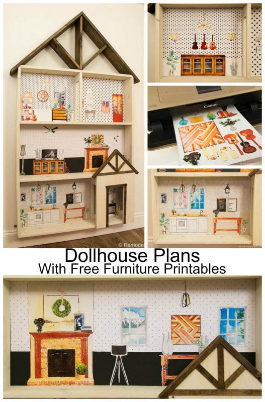 Kids DIY ; Free Dollhouse building plans with a HUGE set of Furniture  printables and instructions