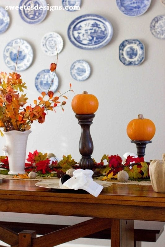 Pumpkins On A Pedestal For A Whimsical Fall Tablescape